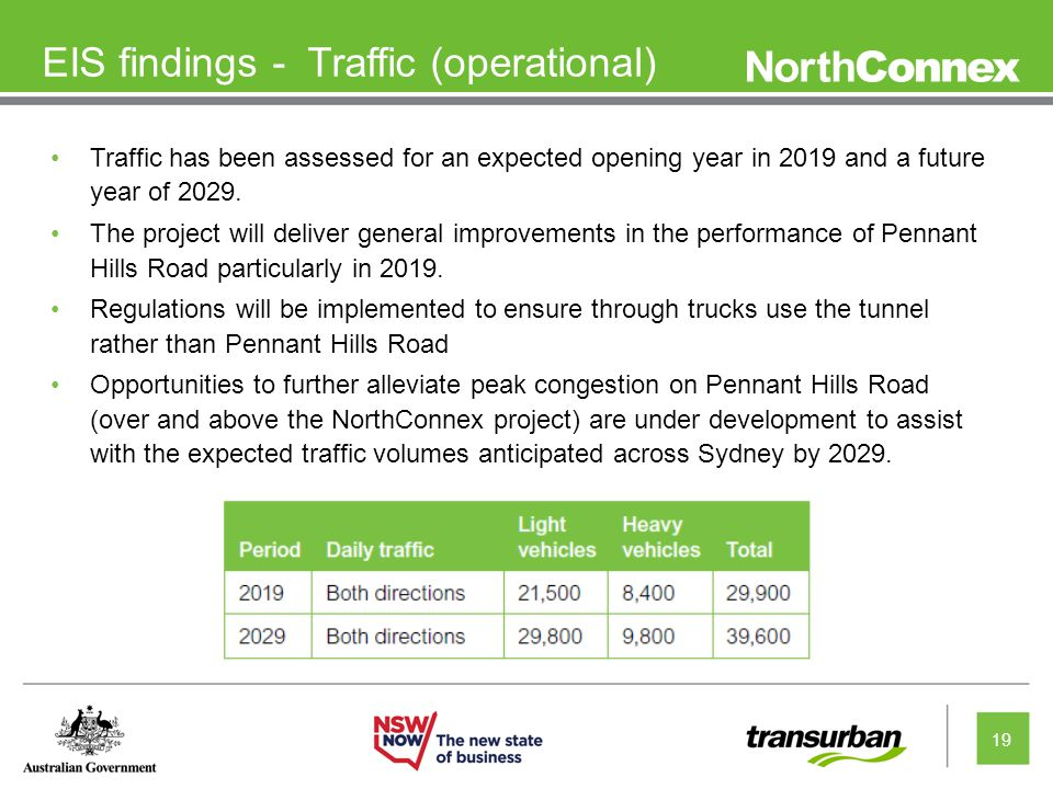 19 EIS findings - Traffic (operational) Traffic has been assessed for an expected opening year in 2019 and a future year of 2029.