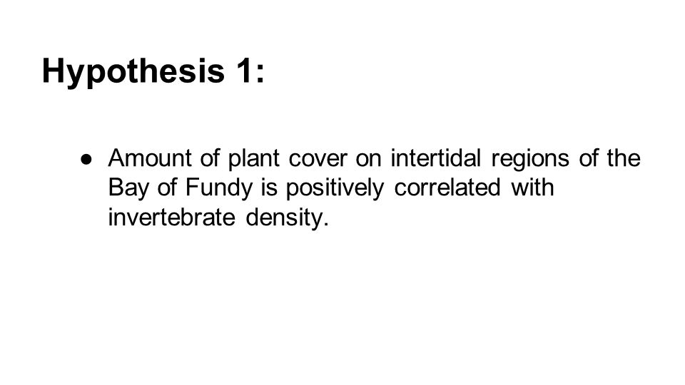 Hypothesis 1: ●Amount of plant cover on intertidal regions of the Bay of Fundy is positively correlated with invertebrate density.