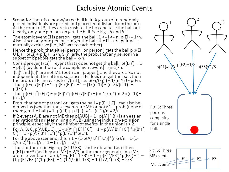 Exclusive Atomic Events Scenario: There is a box w/ a red ball in it.