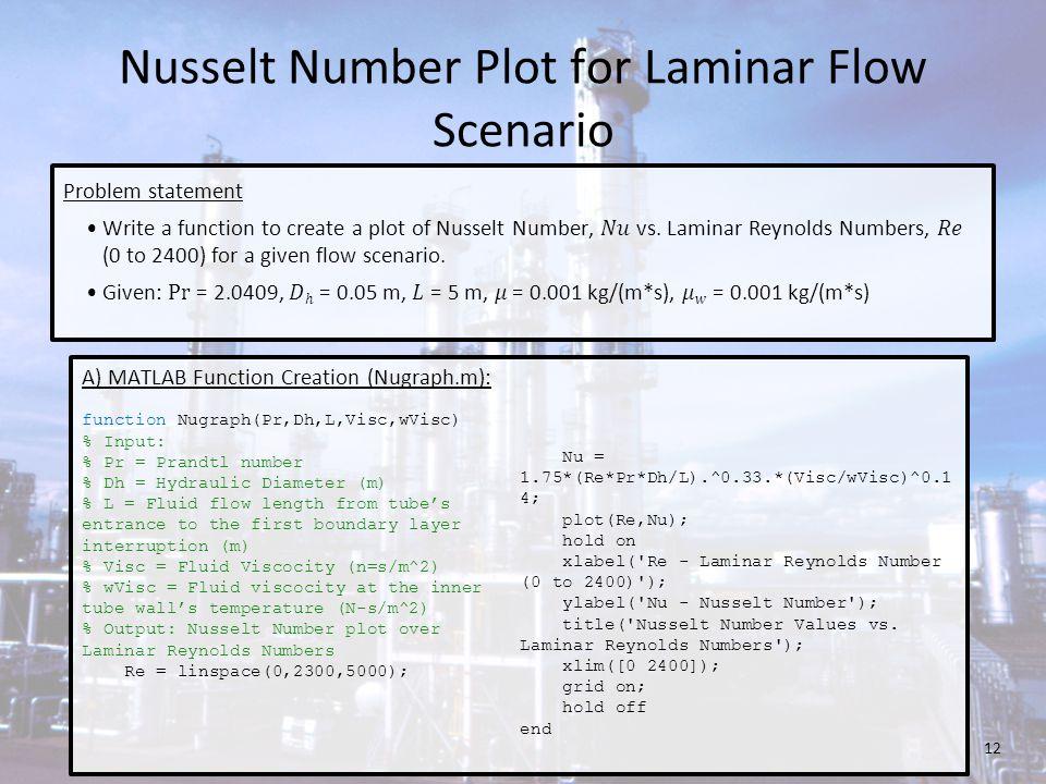 Nusselt Number Plot for Laminar Flow Scenario A) MATLAB Function Creation (Nugraph.m): function Nugraph(Pr,Dh,L,Visc,wVisc) % Input: % Pr = Prandtl nu