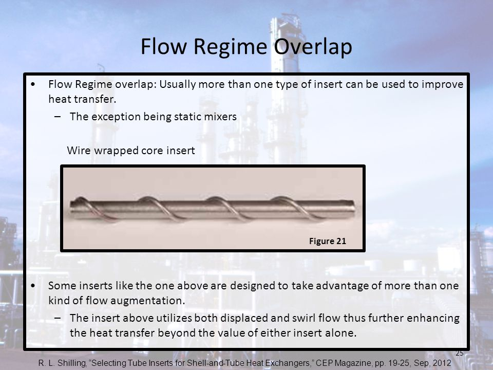 Flow Regime Overlap Flow Regime overlap: Usually more than one type of insert can be used to improve heat transfer. –The exception being static mixers