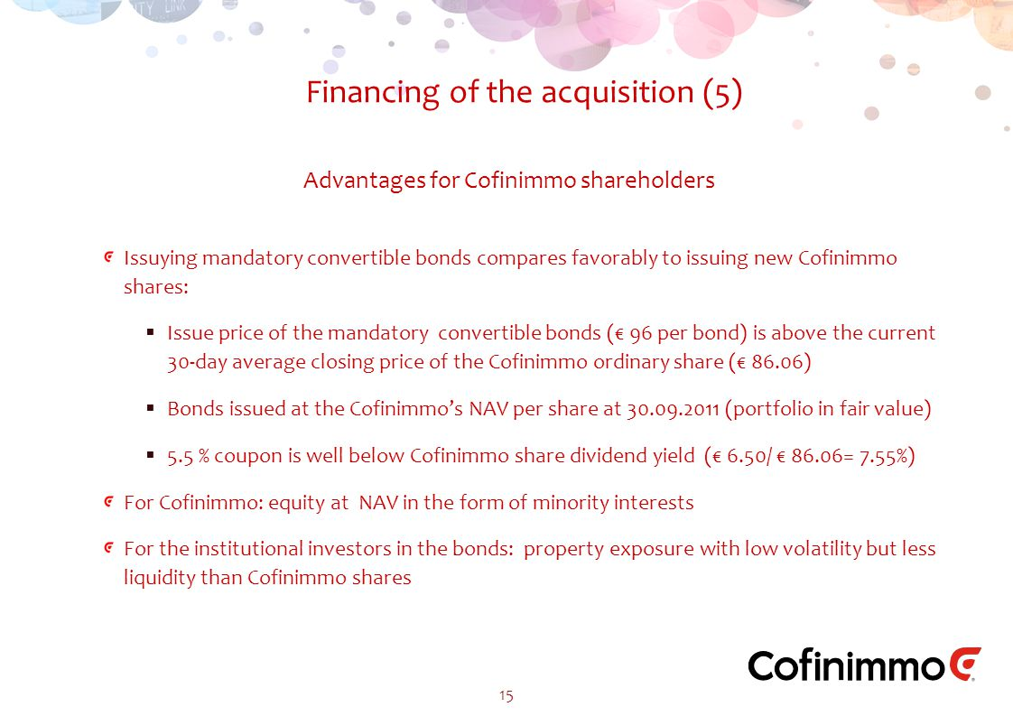 Issuying mandatory convertible bonds compares favorably to issuing new Cofinimmo shares:  Issue price of the mandatory convertible bonds (€ 96 per bond) is above the current 30-day average closing price of the Cofinimmo ordinary share (€ 86.06)  Bonds issued at the Cofinimmo's NAV per share at 30.09.2011 (portfolio in fair value)  5.5 % coupon is well below Cofinimmo share dividend yield (€ 6.50/ € 86.06= 7.55%) For Cofinimmo: equity at NAV in the form of minority interests For the institutional investors in the bonds: property exposure with low volatility but less liquidity than Cofinimmo shares Financing of the acquisition (5) 15 Advantages for Cofinimmo shareholders
