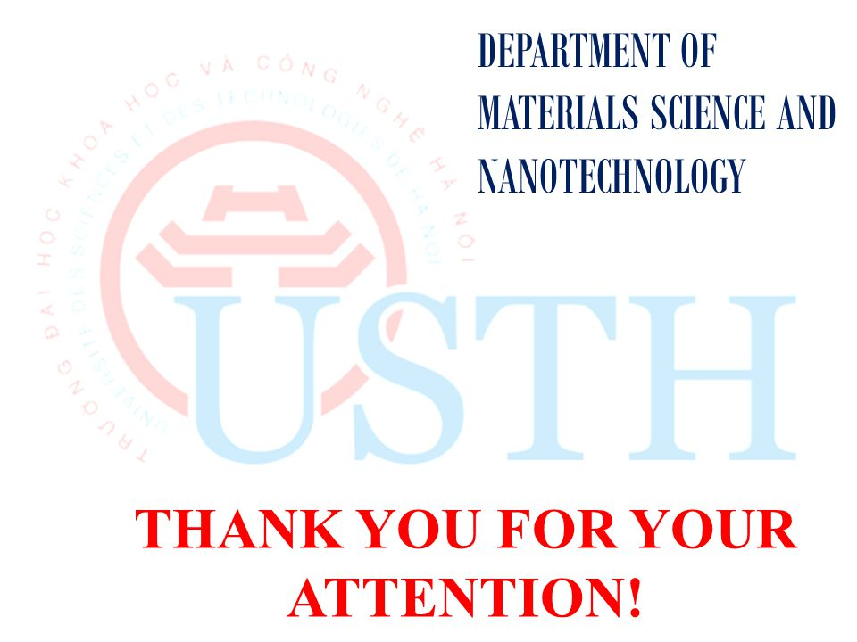 THANK YOU FOR YOUR ATTENTION! DEPARTMENT OF MATERIALS SCIENCE AND NANOTECHNOLOGY