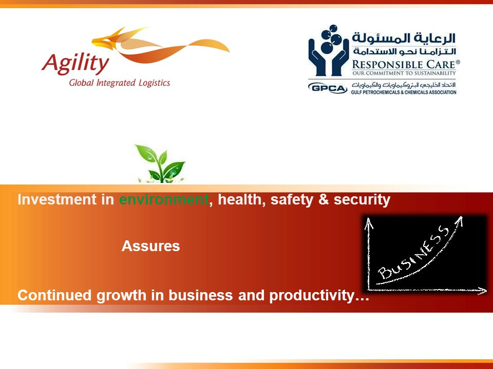 Assures Continued growth in business and productivity… Investment in environment, health, safety & security