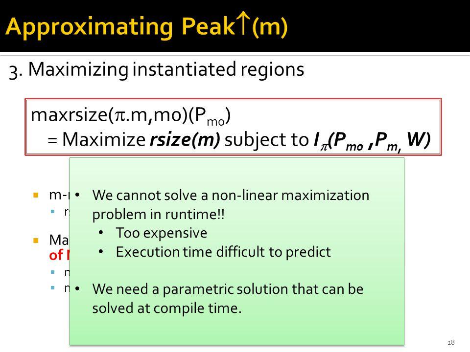  m-region expressed in terms of m parameters  rsize(m2)(m0) = n  Maximum according to calling context and in terms of MUA parameters  maxrsize(m0.1.m1.5.m2,m0) (mc) = mc  maxrsize(m0.2.m2,m0)(mc) = 2mc 3.