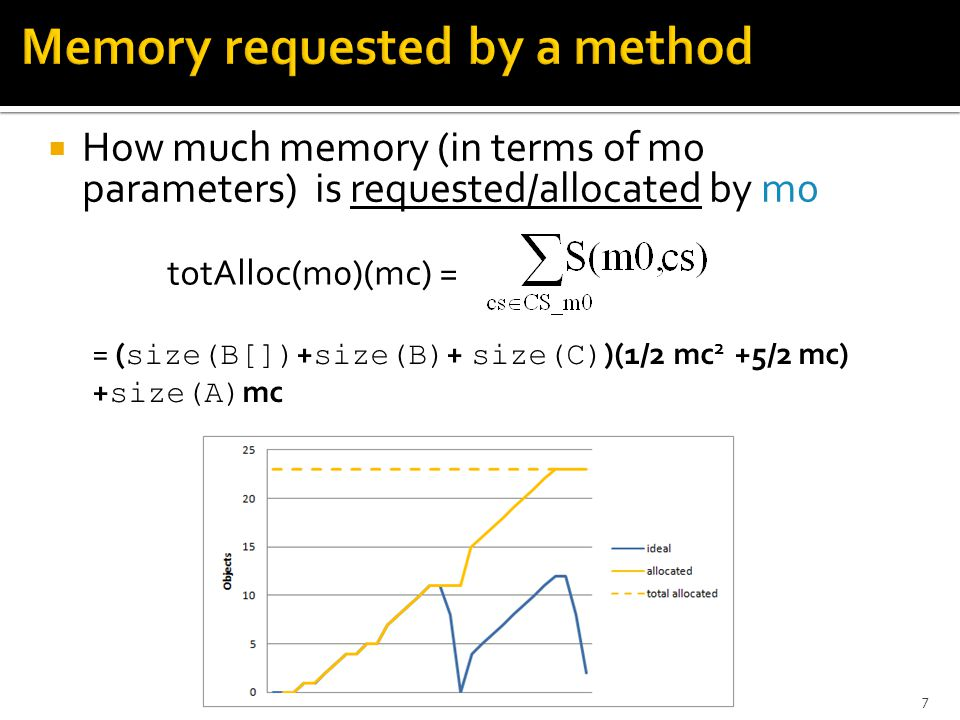  How much memory (in terms of m0 parameters) is requested/allocated by m0 7 totAlloc(m0)(mc) = = ( size(B[]) + size(B) + size(C) )(1/2 mc 2 +5/2 mc) + size(A) mc