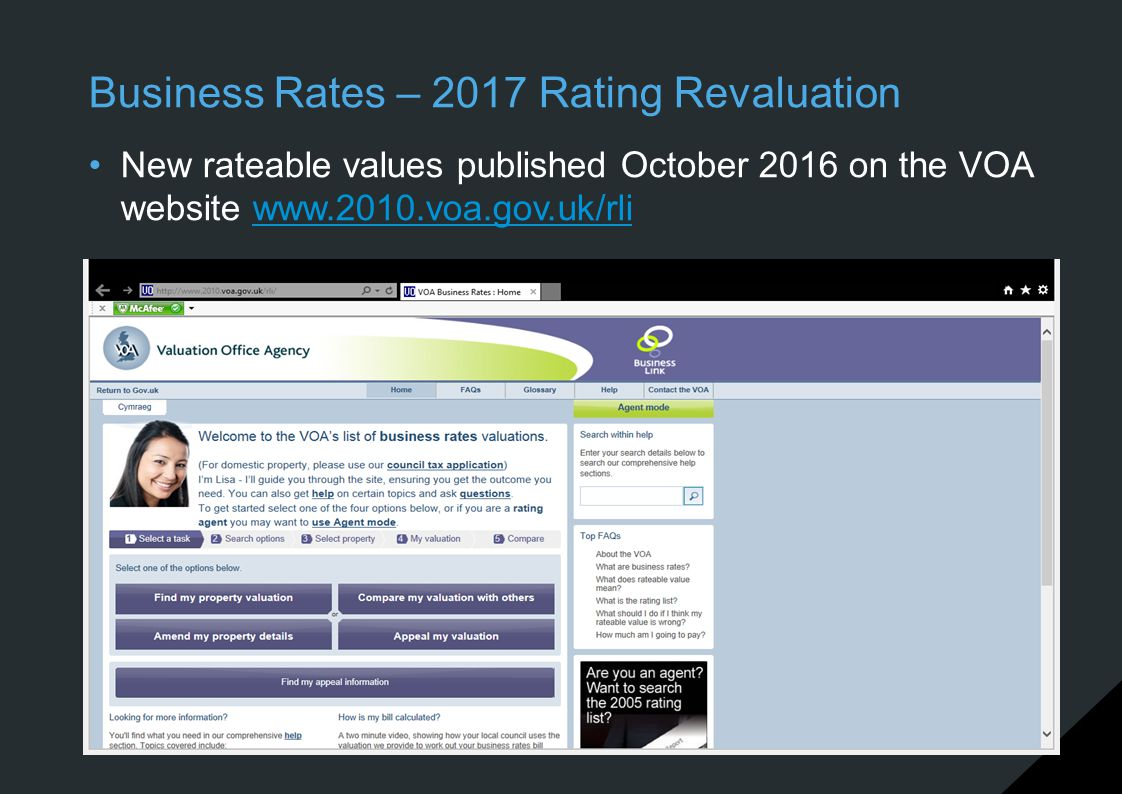 Business Rates – 2017 Rating Revaluation New rateable values published October 2016 on the VOA website www.2010.voa.gov.uk/rliwww.2010.voa.gov.uk/rli