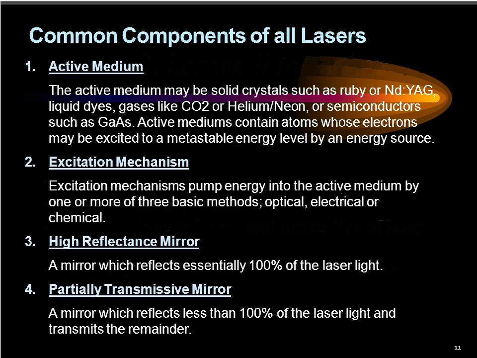 Common Components of all Lasers 11 1.Active Medium The active medium may be solid crystals such as ruby or Nd:YAG, liquid dyes, gases like CO2 or Heli