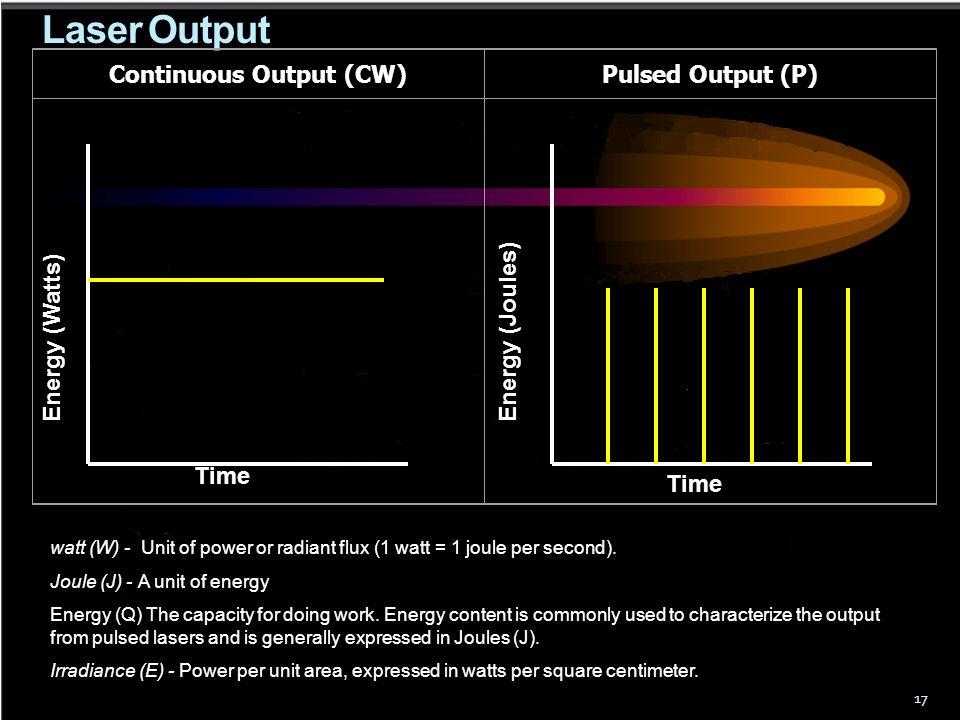 Laser Output 17 Continuous Output (CW)Pulsed Output (P) watt (W) - Unit of power or radiant flux (1 watt = 1 joule per second). Joule (J) - A unit of