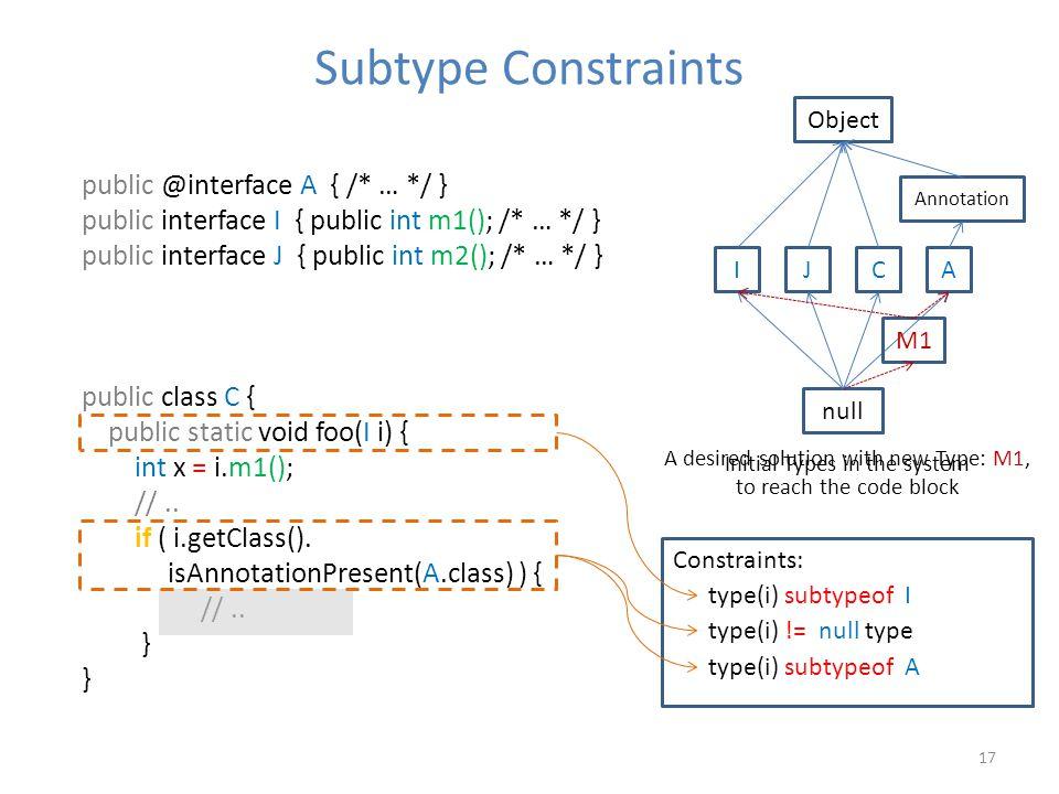 17 Subtype Constraints public @interface A { /* … */ } public interface I { public int m1(); /* … */ } public interface J { public int m2(); /* … */ } public class C { public static void foo(I i) { int x = i.m1(); //..