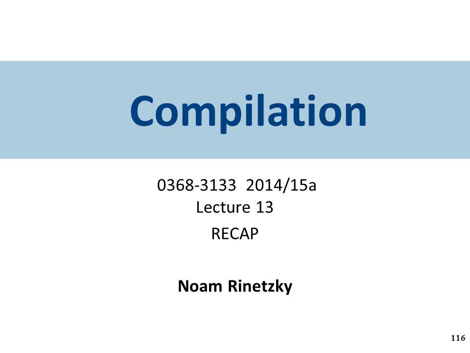 Compilation 0368-3133 2014/15a Lecture 13 RECAP Noam Rinetzky 116