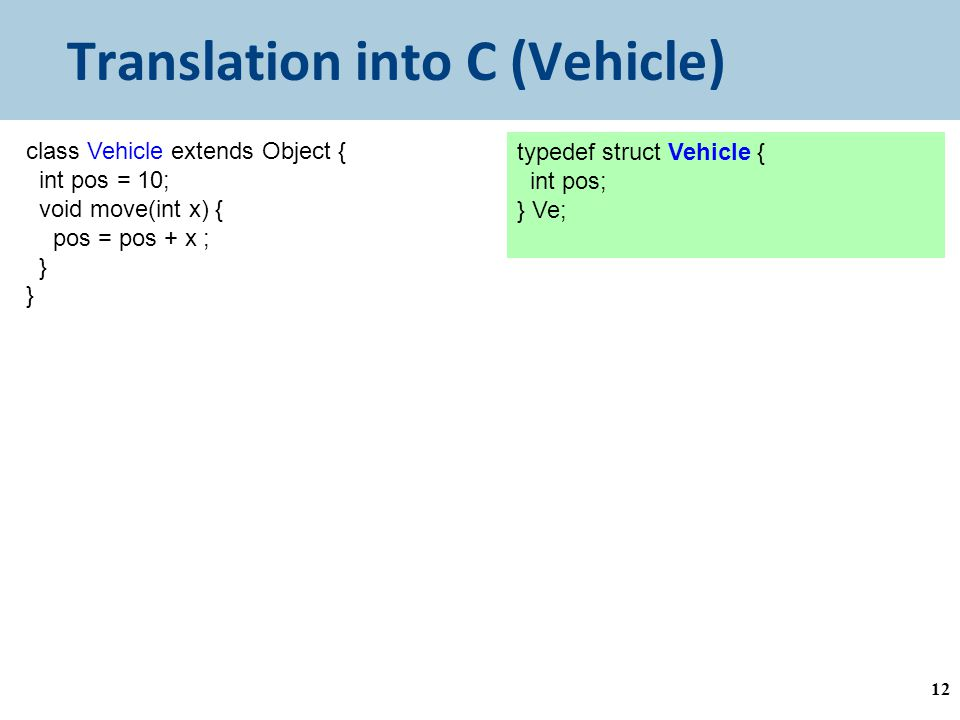 Translation into C (Vehicle) 12 class Vehicle extends Object { int pos = 10; void move(int x) { pos = pos + x ; } typedef struct Vehicle { int pos; } Ve;
