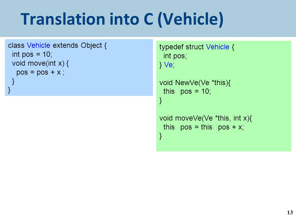 Translation into C (Vehicle) 13 class Vehicle extends Object { int pos = 10; void move(int x) { pos = pos + x ; } typedef struct Vehicle { int pos; } Ve; void NewVe(Ve *this){ this  pos = 10; } void moveVe(Ve *this, int x){ this  pos = this  pos + x; }