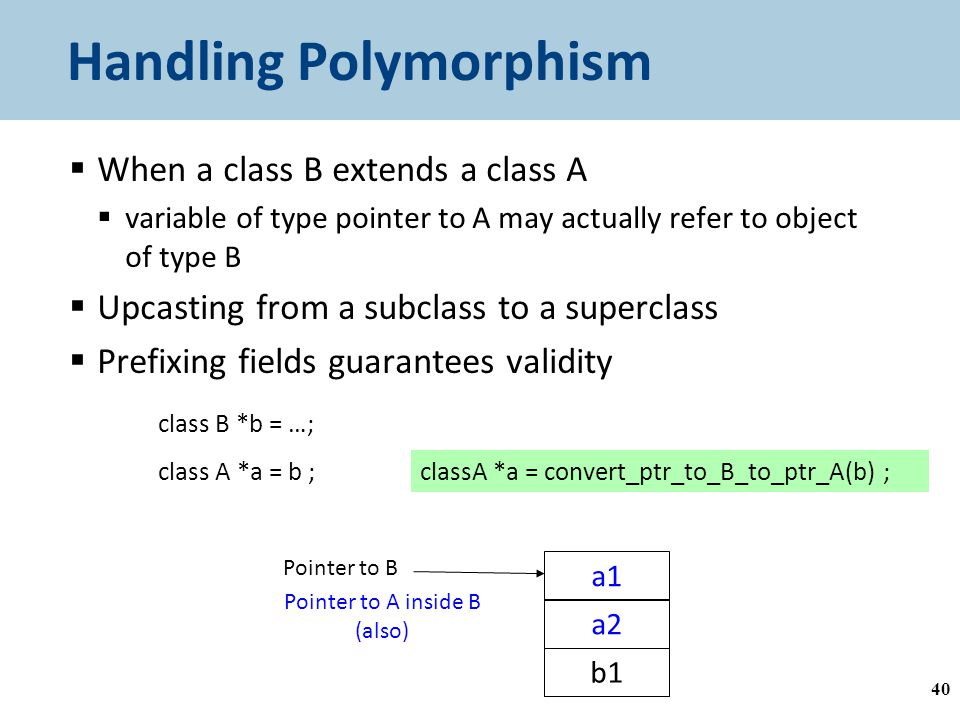 Handling Polymorphism  When a class B extends a class A  variable of type pointer to A may actually refer to object of type B  Upcasting from a subclass to a superclass  Prefixing fields guarantees validity 40 class B *b = …; class A *a = b ; a1 a2 b1 Pointer to B Pointer to A inside B (also) classA *a = convert_ptr_to_B_to_ptr_A(b) ; A B