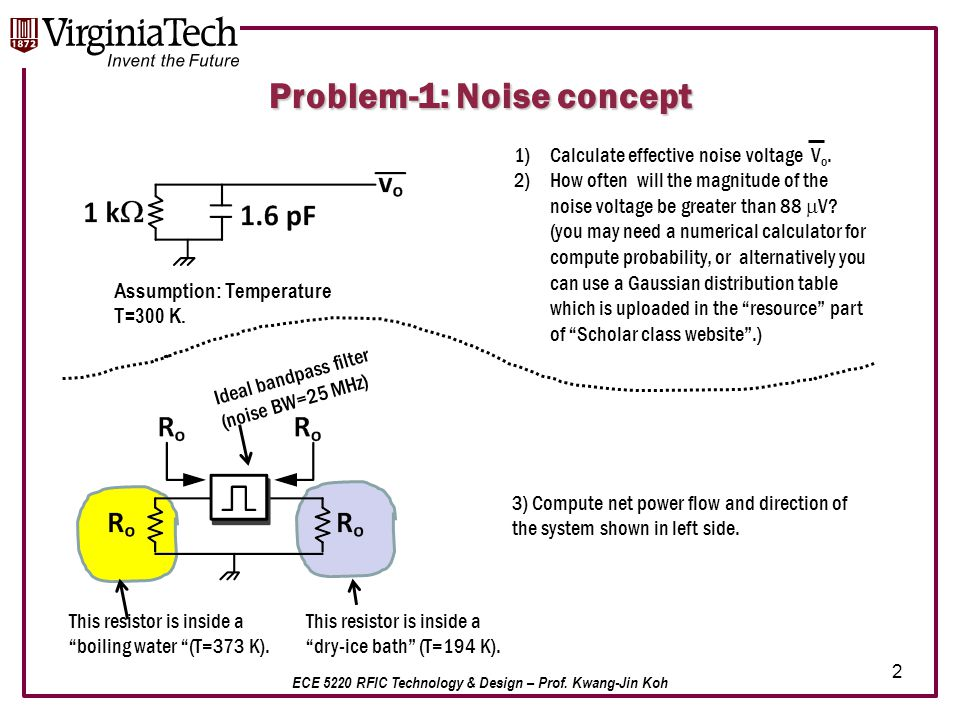 ECE 5220 RFIC Technology & Design – Prof. Kwang-Jin Koh 2 Problem-1: Noise concept Assumption: Temperature T=300 K. 1)Calculate effective noise voltag