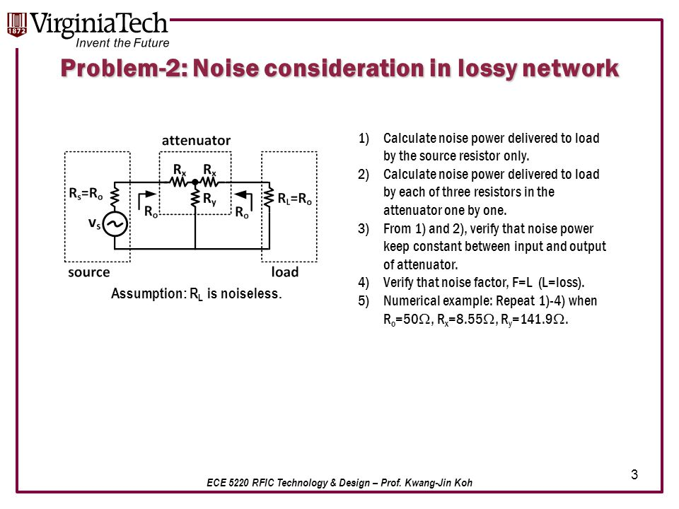 ECE 5220 RFIC Technology & Design – Prof. Kwang-Jin Koh Problem-2: Noise consideration in lossy network 1)Calculate noise power delivered to load by t