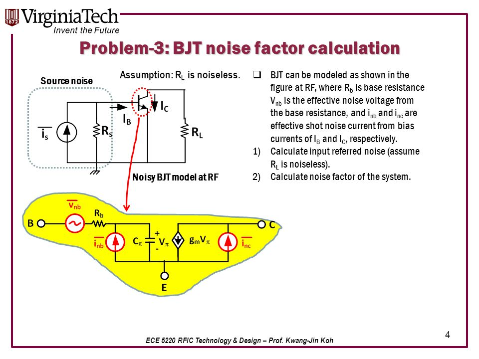 ECE 5220 RFIC Technology & Design – Prof. Kwang-Jin Koh Problem-3: BJT noise factor calculation  BJT can be modeled as shown in the figure at RF, whe