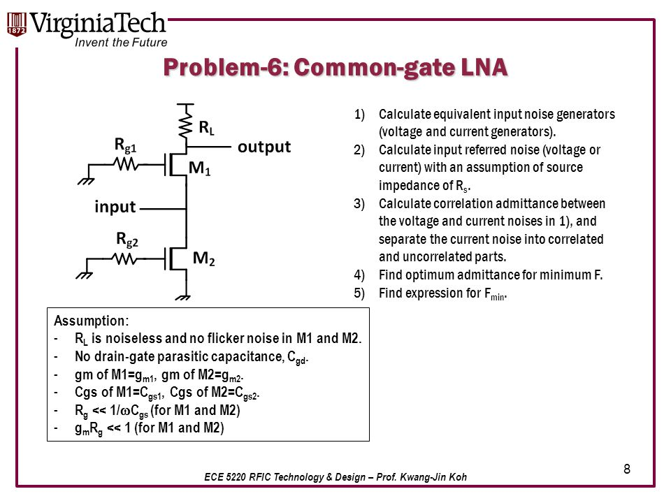 ECE 5220 RFIC Technology & Design – Prof. Kwang-Jin Koh 8 Problem-6: Common-gate LNA 1)Calculate equivalent input noise generators (voltage and curren