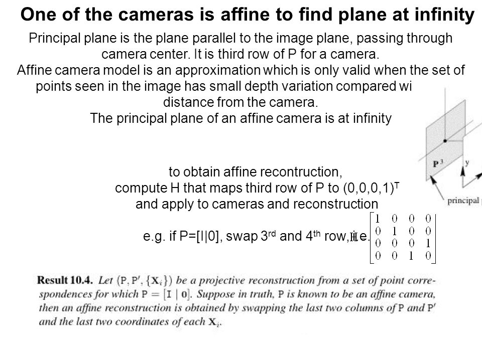 One of the cameras is affine to find plane at infinity Principal plane is the plane parallel to the image plane, passing through camera center. It is