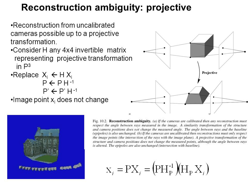 Reconstruction ambiguity: projective Reconstruction from uncalibrated cameras possible up to a projective transformation. Consider H any 4x4 invertibl