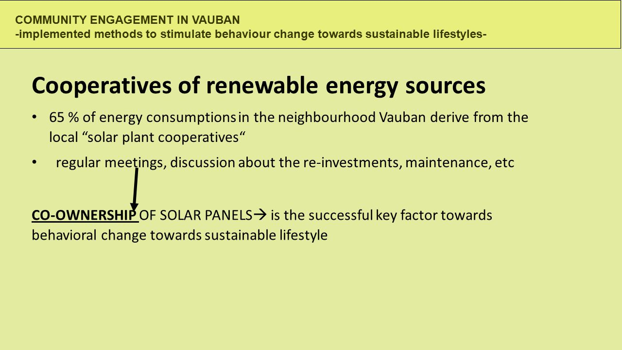 COMMUNITY ENGAGEMENT IN VAUBAN -implemented methods to stimulate behaviour change towards sustainable lifestyles- CO-OWNERSHIP OF SOLAR PANELS  is the successful key factor towards behavioral change towards sustainable lifestyle Cooperatives of renewable energy sources 65 % of energy consumptions in the neighbourhood Vauban derive from the local solar plant cooperatives regular meetings, discussion about the re-investments, maintenance, etc