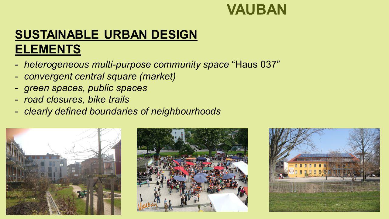-heterogeneous multi-purpose community space Haus 037 -convergent central square (market) -green spaces, public spaces -road closures, bike trails -clearly defined boundaries of neighbourhoods SUSTAINABLE URBAN DESIGN ELEMENTS SUSTAINABLE NEIGHBOURHOOD VAUBAN