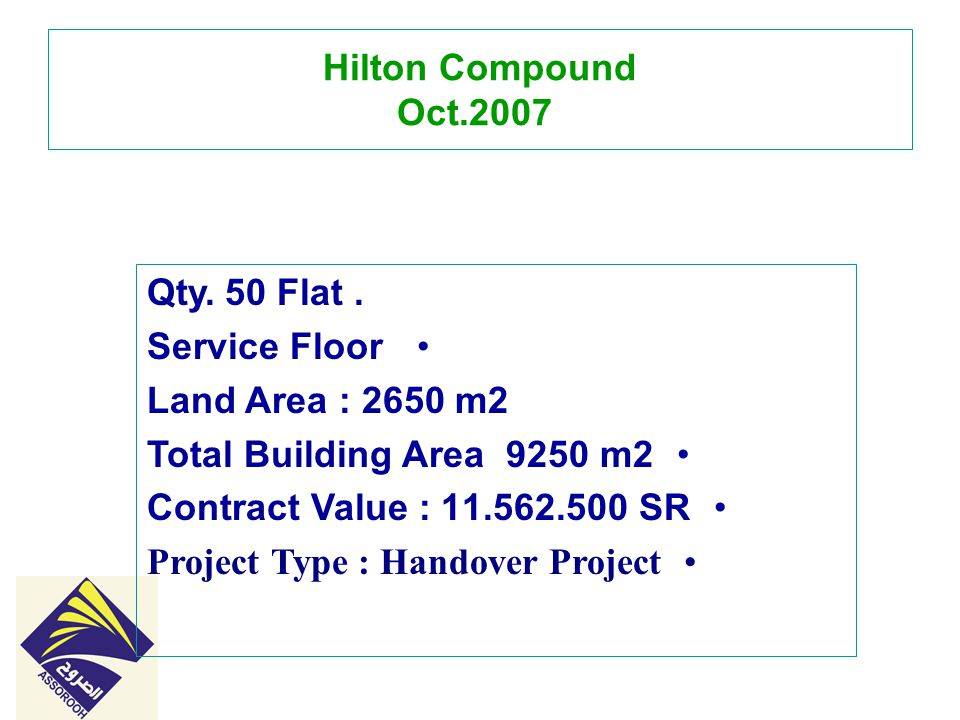 Hilton Compound Oct. 2007 50 Flat. Qty.