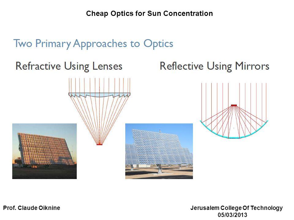 Cheap Optics for Sun Concentration Prof. Claude Oiknine Jerusalem College Of Technology 05/03/2013