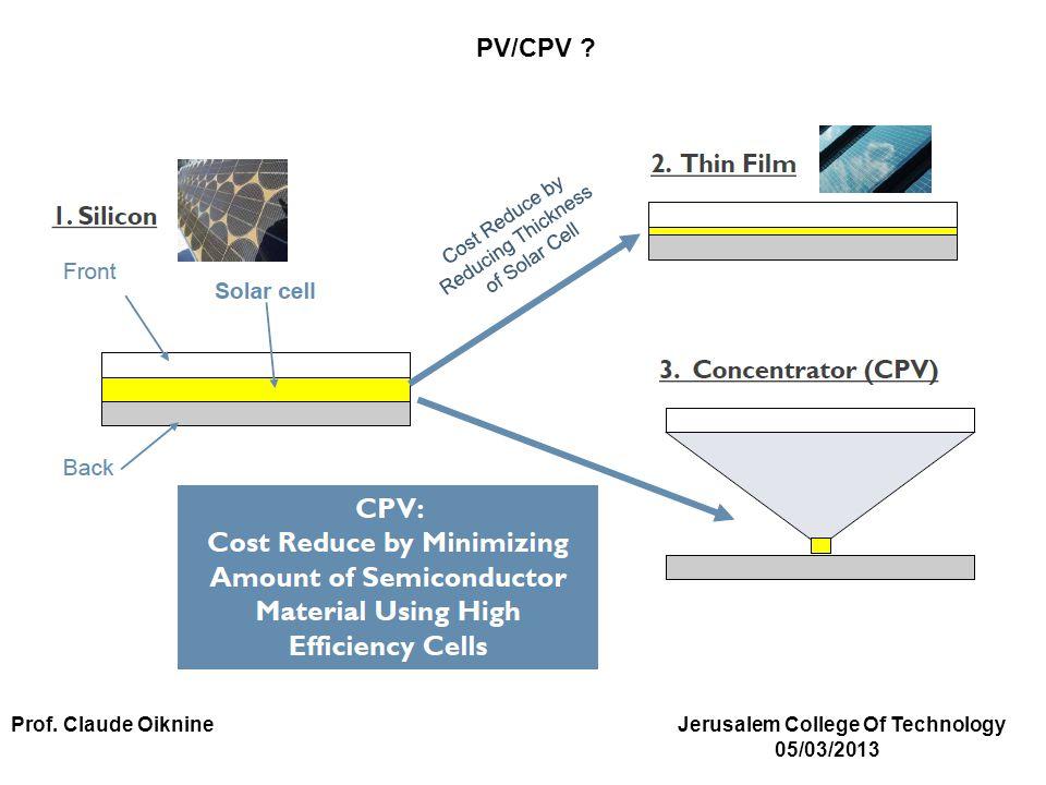 PV/CPV Prof. Claude Oiknine Jerusalem College Of Technology 05/03/2013