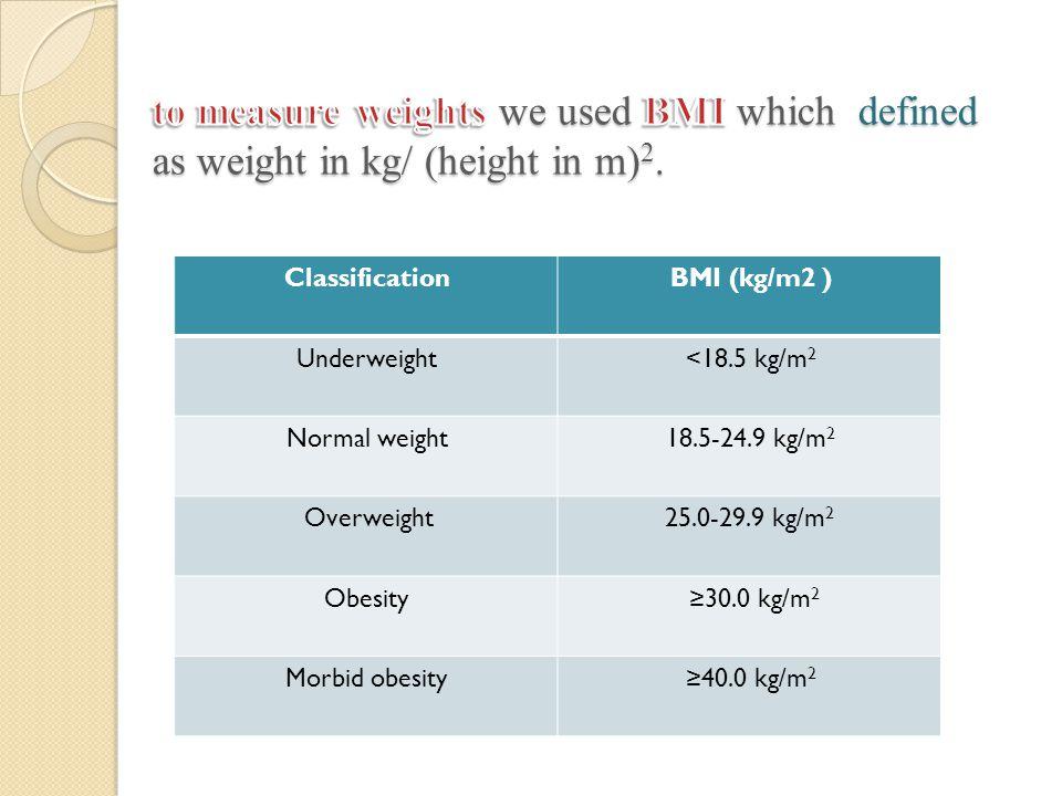 BMI (kg/m2 )Classification <18.5 kg/m 2 Underweight 18.5-24.9 kg/m 2 Normal weight 25.0-29.9 kg/m 2 Overweight ≥30.0 kg/m 2 Obesity ≥40.0 kg/m 2 Morbi