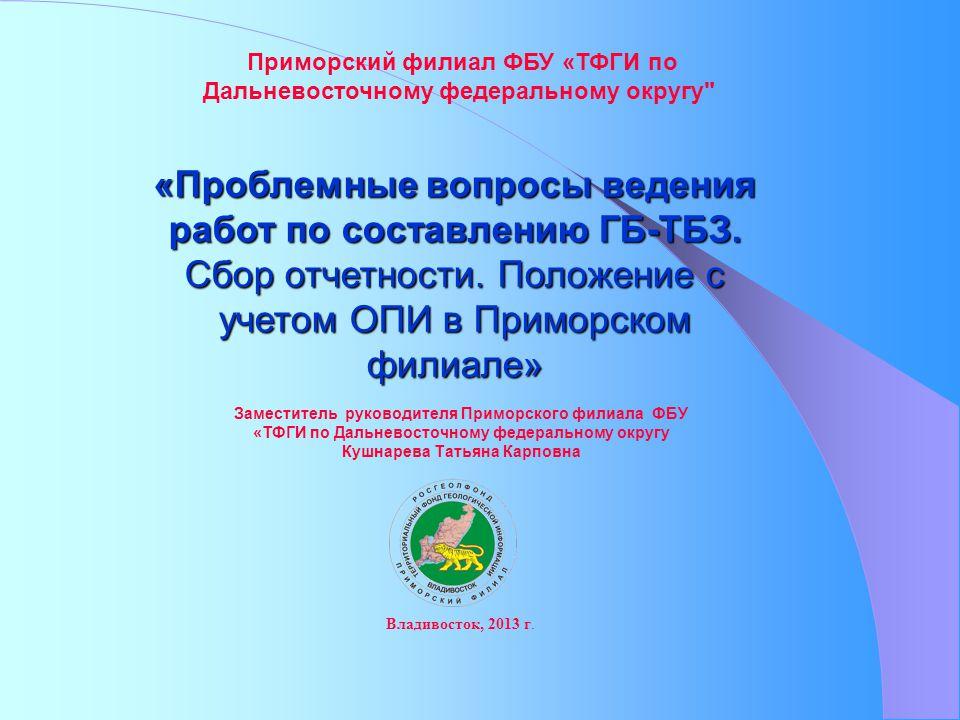 «Проблемные вопросы ведения работ по составлению ГБ-ТБЗ.