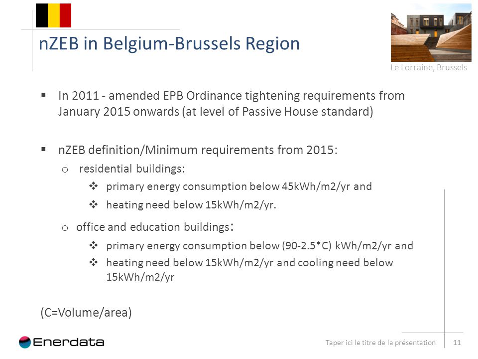 nZEB in Belgium-Brussels Region Taper ici le titre de la présentation 11  In 2011 - amended EPB Ordinance tightening requirements from January 2015 onwards (at level of Passive House standard)  nZEB definition/Minimum requirements from 2015: o residential buildings:  primary energy consumption below 45kWh/m2/yr and  heating need below 15kWh/m2/yr.