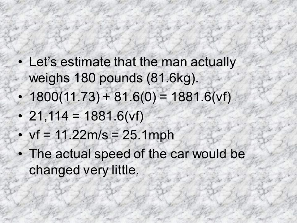 Let's estimate that the man actually weighs 180 pounds (81.6kg).