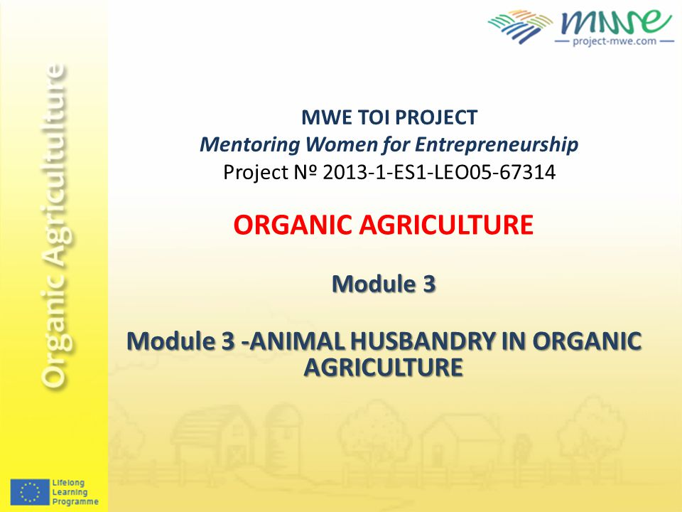 MWE TOI PROJECT Mentoring Women for Entrepreneurship Project Nº 2013-1-ES1-LEO05-67314 ORGANIC AGRICULTURE Module 3 Module 3 -ANIMAL HUSBANDRY IN ORGANIC AGRICULTURE