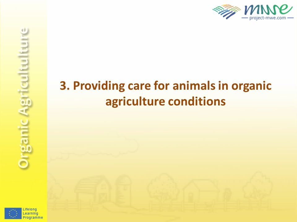 3. Providing care for animals in organic agriculture conditions