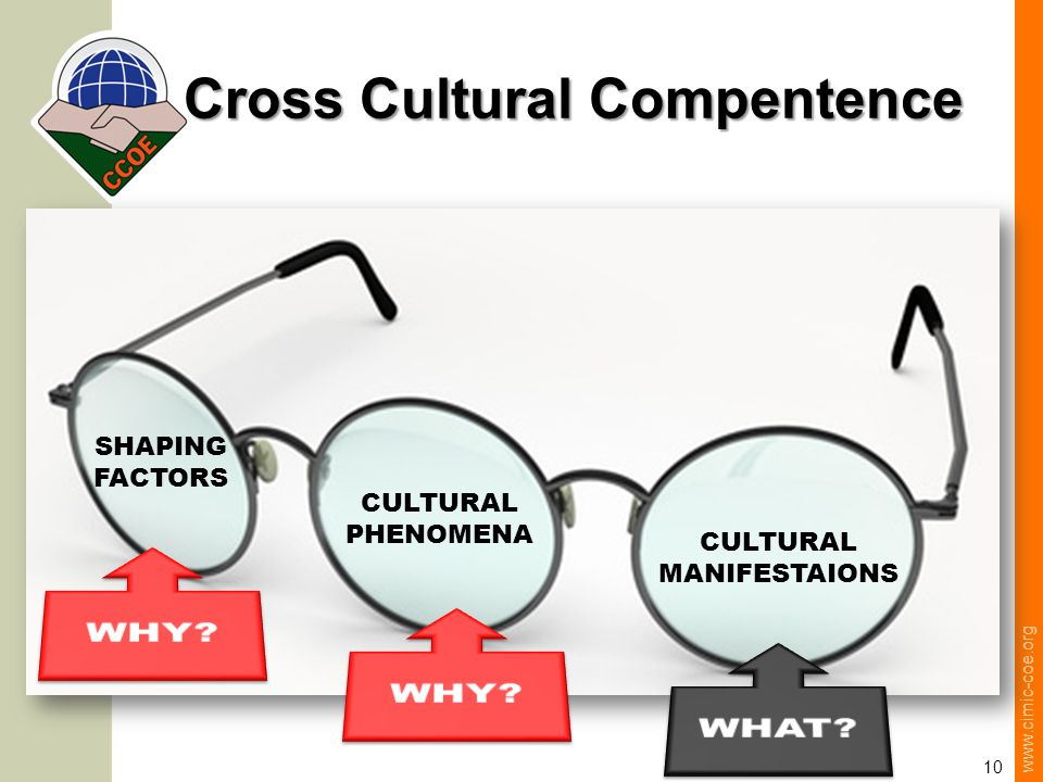 www.cimic-coe.org 10 Cross Cultural Compentence CULTURAL MANIFESTAIONS CULTURAL PHENOMENA SHAPING FACTORS