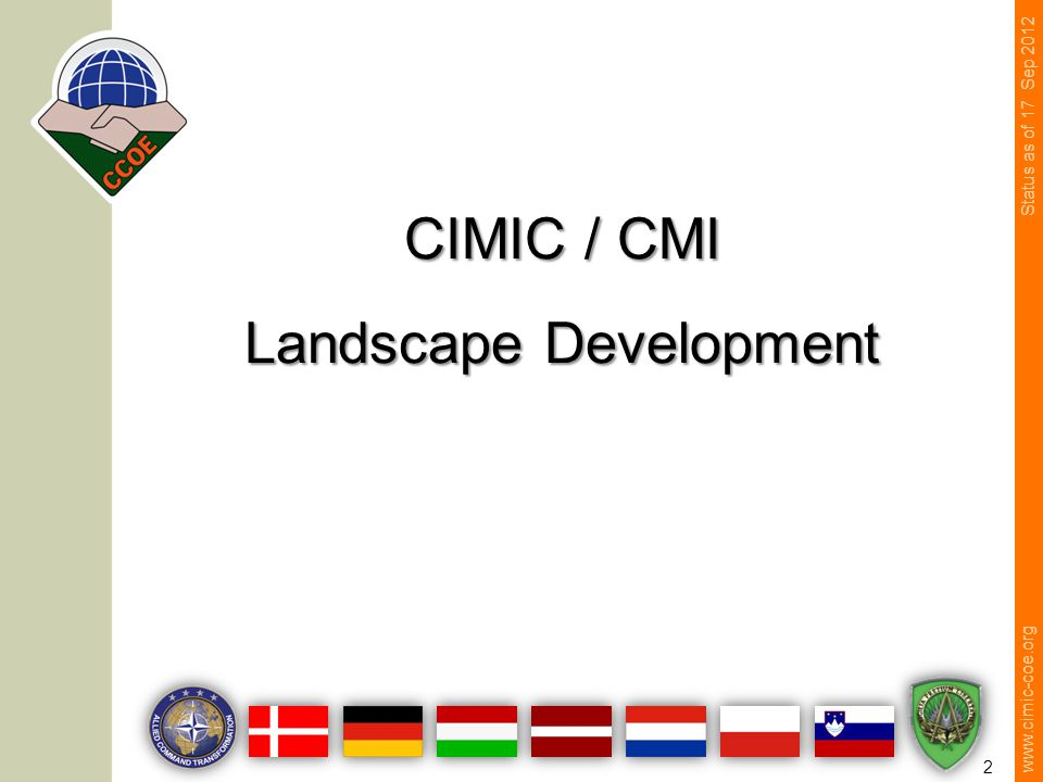 www.cimic-coe.org 2 CIMIC / CMI Landscape Development Status as of 17 Sep 2012
