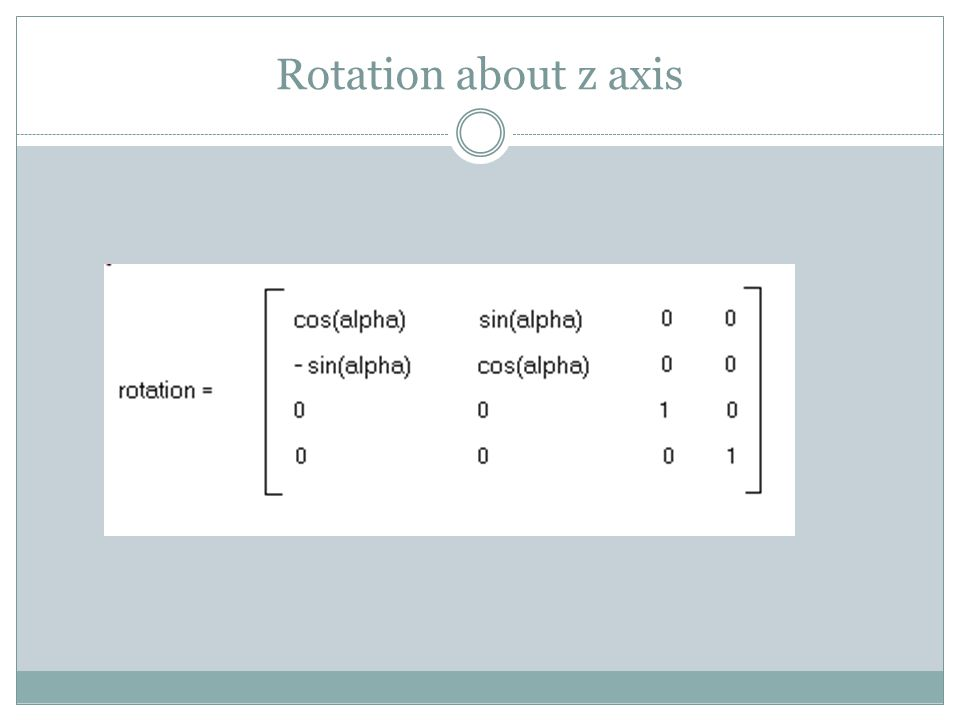 Rotation about z axis