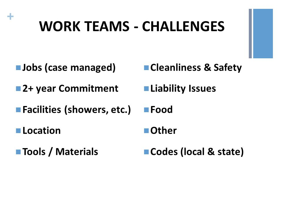 + WORK TEAMS - CHALLENGES Jobs (case managed) 2+ year Commitment Facilities (showers, etc.) Location Tools / Materials Cleanliness & Safety Liability Issues Food Other Codes (local & state)