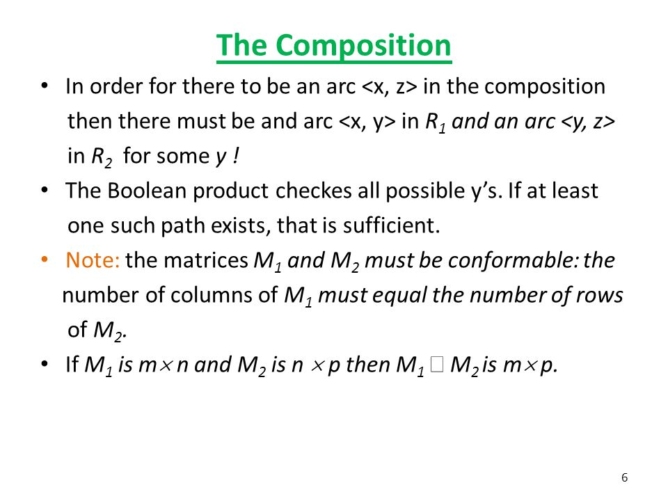 The Composition In order for there to be an arc in the composition then there must be and arc in R 1 and an arc in R 2 for some y .