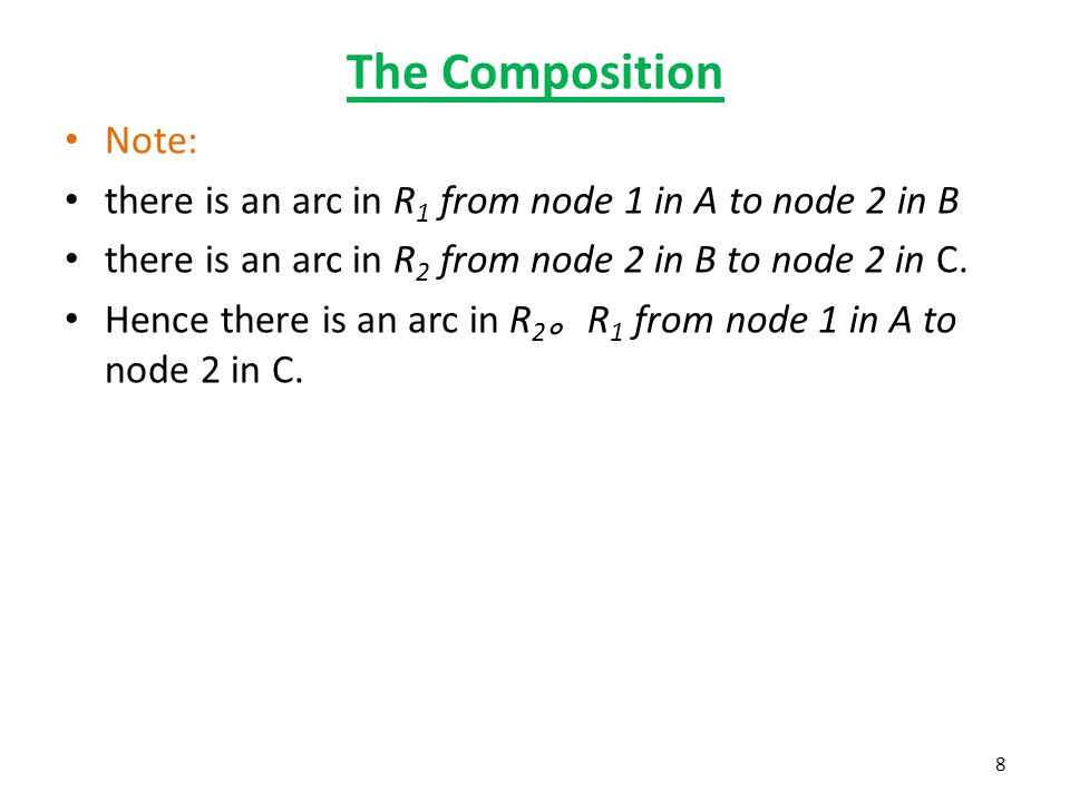 The Composition Note: there is an arc in R 1 from node 1 in A to node 2 in B there is an arc in R 2 from node 2 in B to node 2 in C. Hence there is an