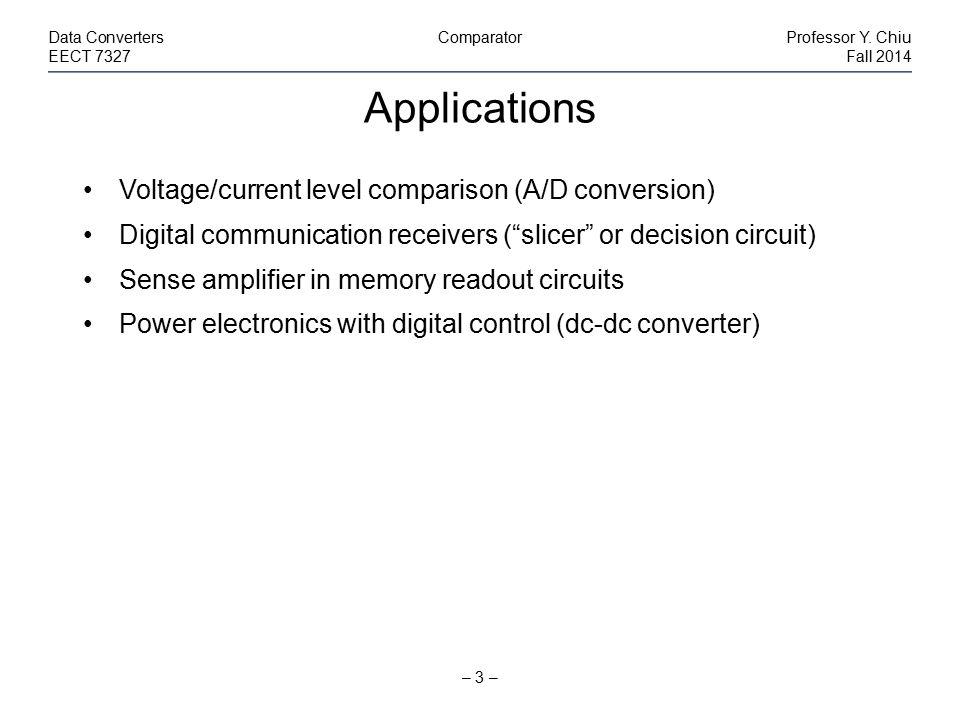Design Considerations – 4 – Data ConvertersComparatorProfessor Y.