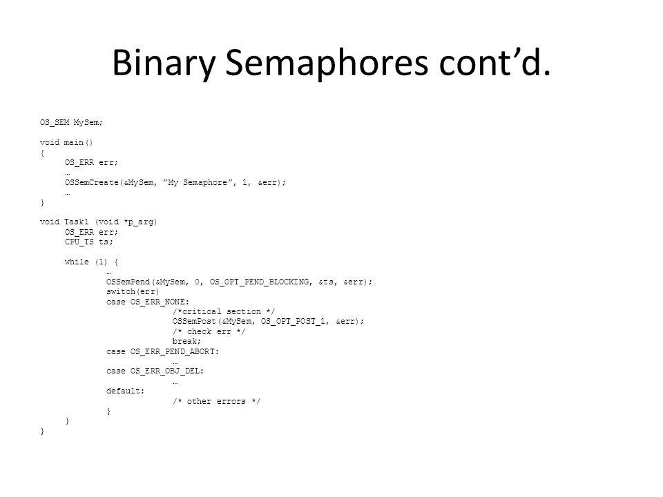 Binary Semaphores cont'd.