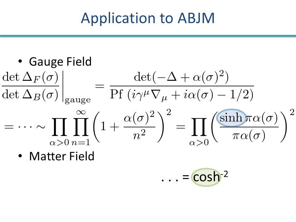 Gauge Field Matter Field... = cosh -2 Application to ABJM