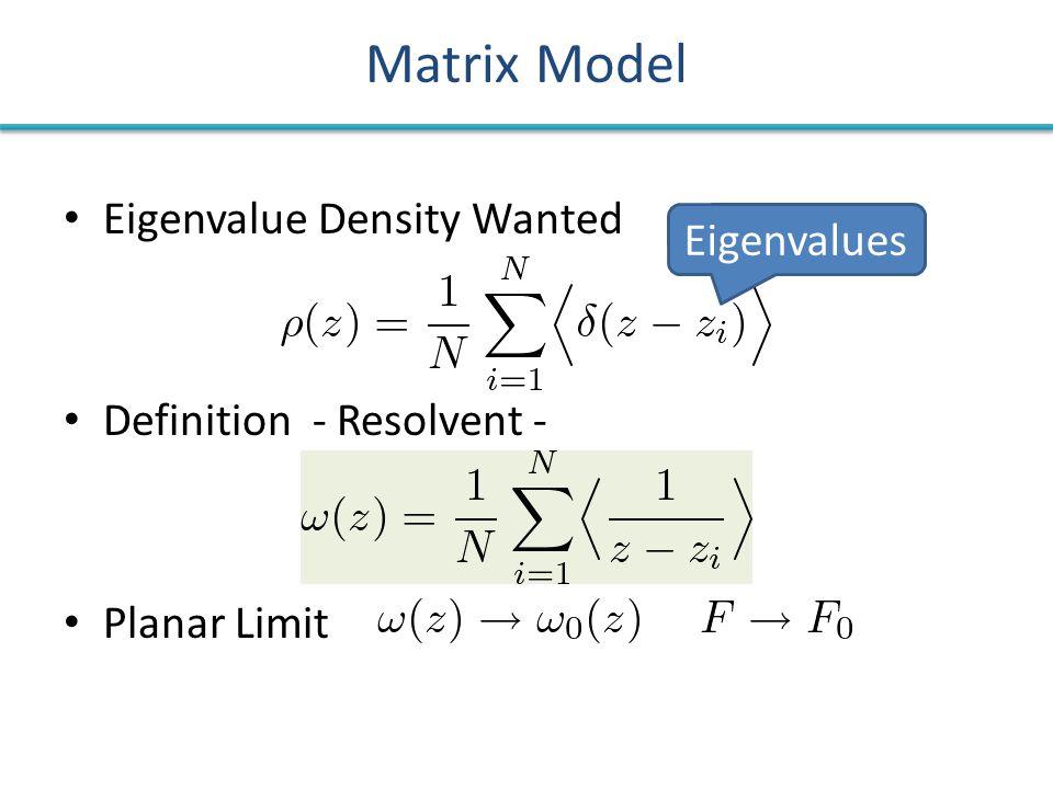Matrix Model Eigenvalue Density Wanted Definition - Resolvent - Planar Limit Eigenvalues