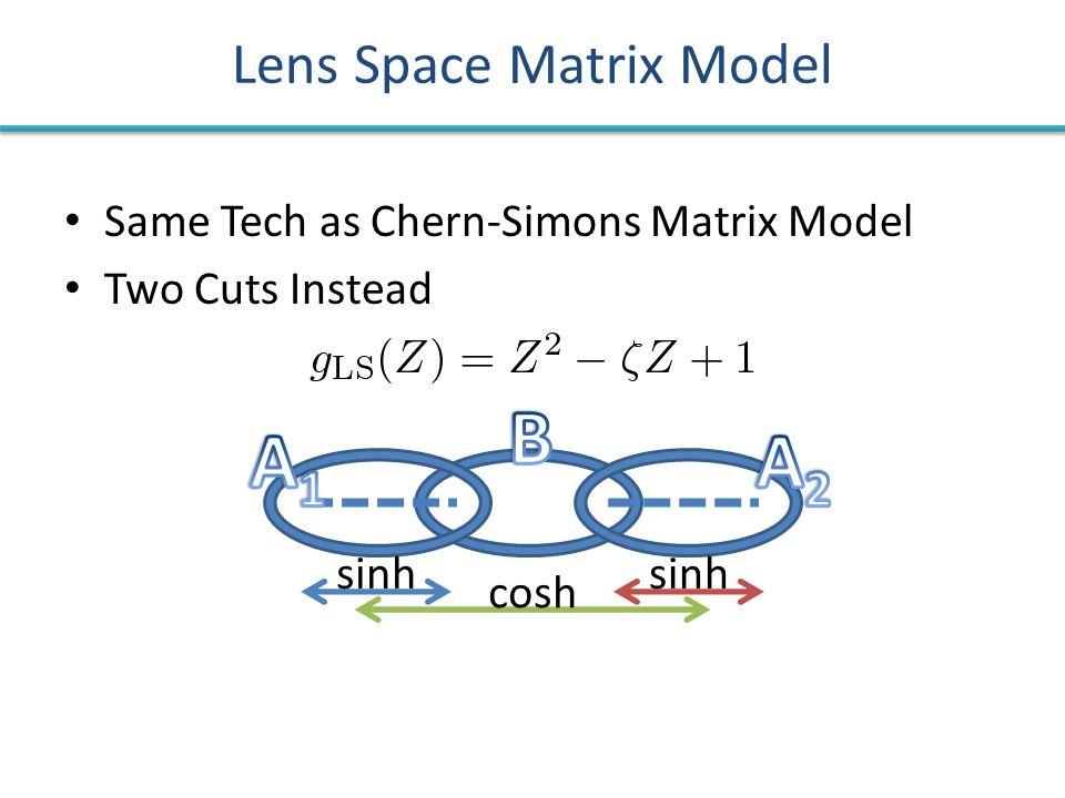 Same Tech as Chern-Simons Matrix Model Two Cuts Instead Lens Space Matrix Model sinh cosh