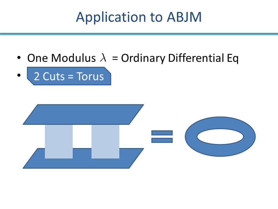 Application to ABJM One Modulus = Ordinary Differential Eq 2 Cuts = Torus