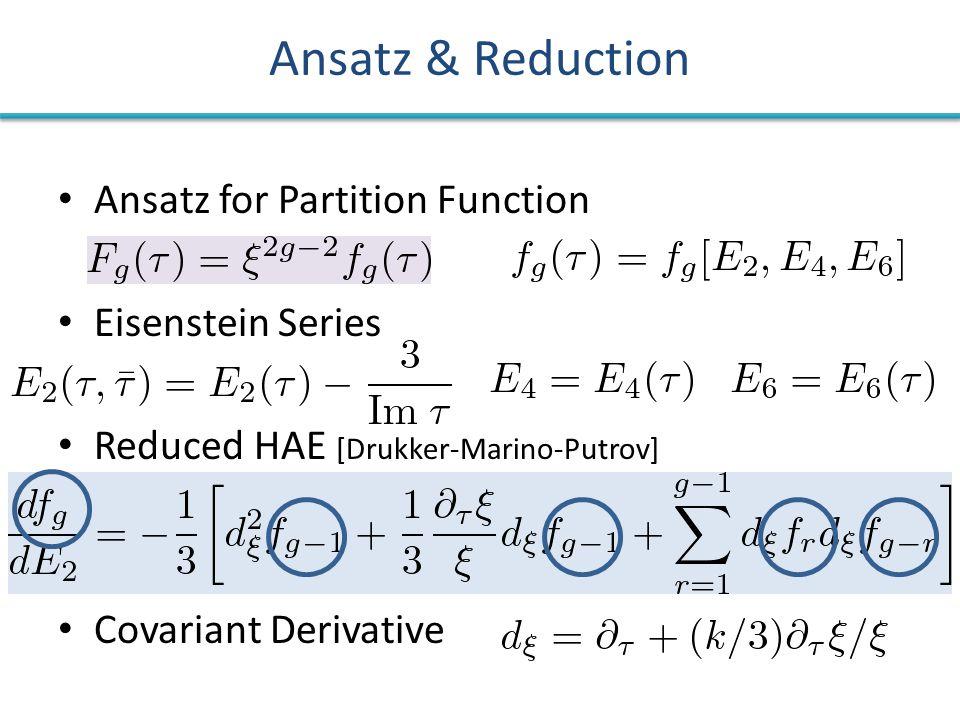Ansatz & Reduction Ansatz for Partition Function Eisenstein Series Reduced HAE [Drukker-Marino-Putrov] Covariant Derivative