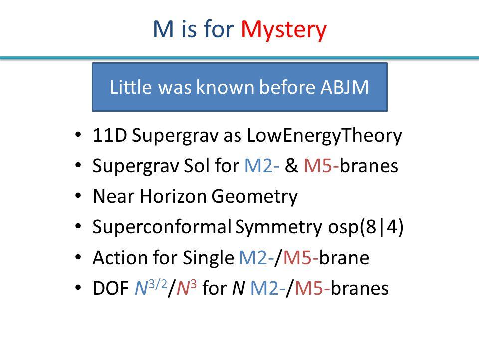 M is for Mystery 11D Supergrav as LowEnergyTheory Supergrav Sol for M2- & M5-branes Near Horizon Geometry Superconformal Symmetry osp(8|4) Action for Single M2-/M5-brane DOF N 3/2 /N 3 for N M2-/M5-branes Little was known before ABJM