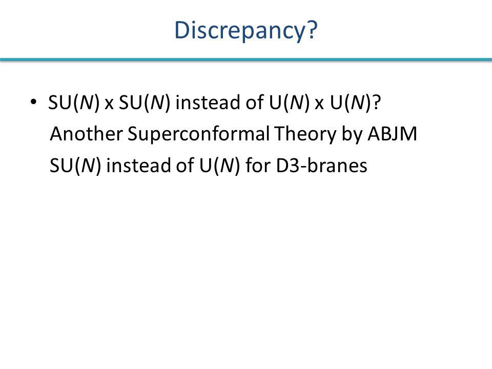 Discrepancy? SU(N) x SU(N) instead of U(N) x U(N)? Another Superconformal Theory by ABJM SU(N) instead of U(N) for D3-branes